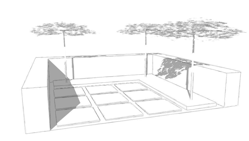 Grüner Patio mit Sitzplatz aus Grossformatplatten, Hochbeet mit Cortenstahleinfassung, Heckeneinfriedung und Dachplatanen als Sonnenschutz