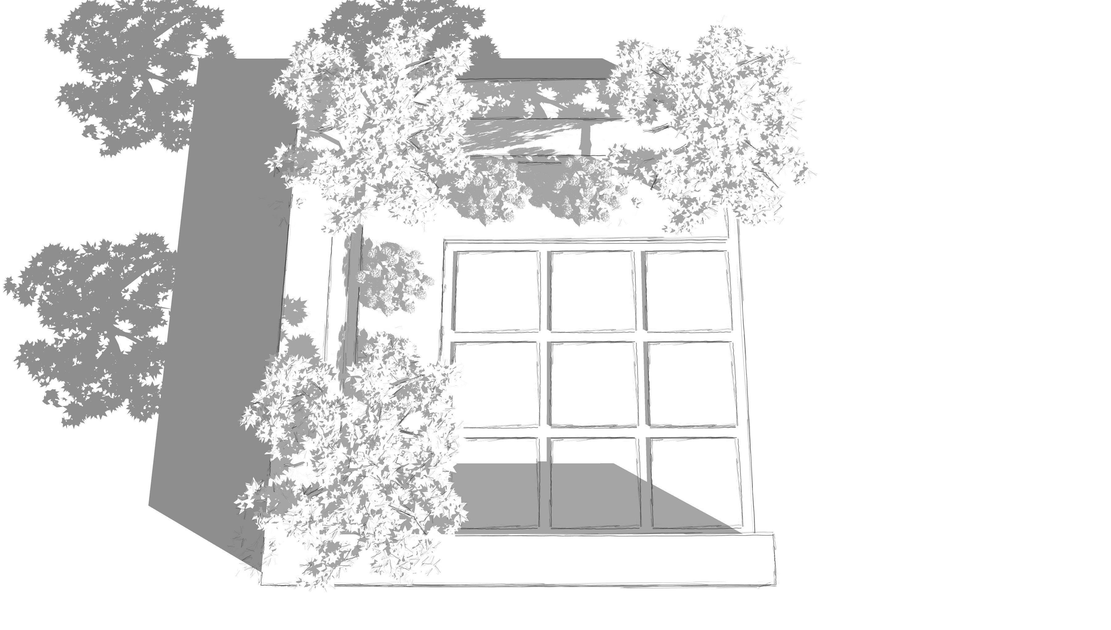 moderner Patio mit Dachplatanen und Sitzplatz aus Grossformatplatten